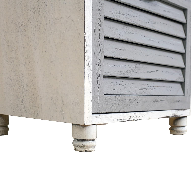 HxLxP - Art RE4416 Misure 65 x 40 x 29 cm Shabby Bianco Grigio Beige Mobile Multiuso con 3 cassetti Legno Paulownia Rebecca Mobili Comodino per Camera Bagno