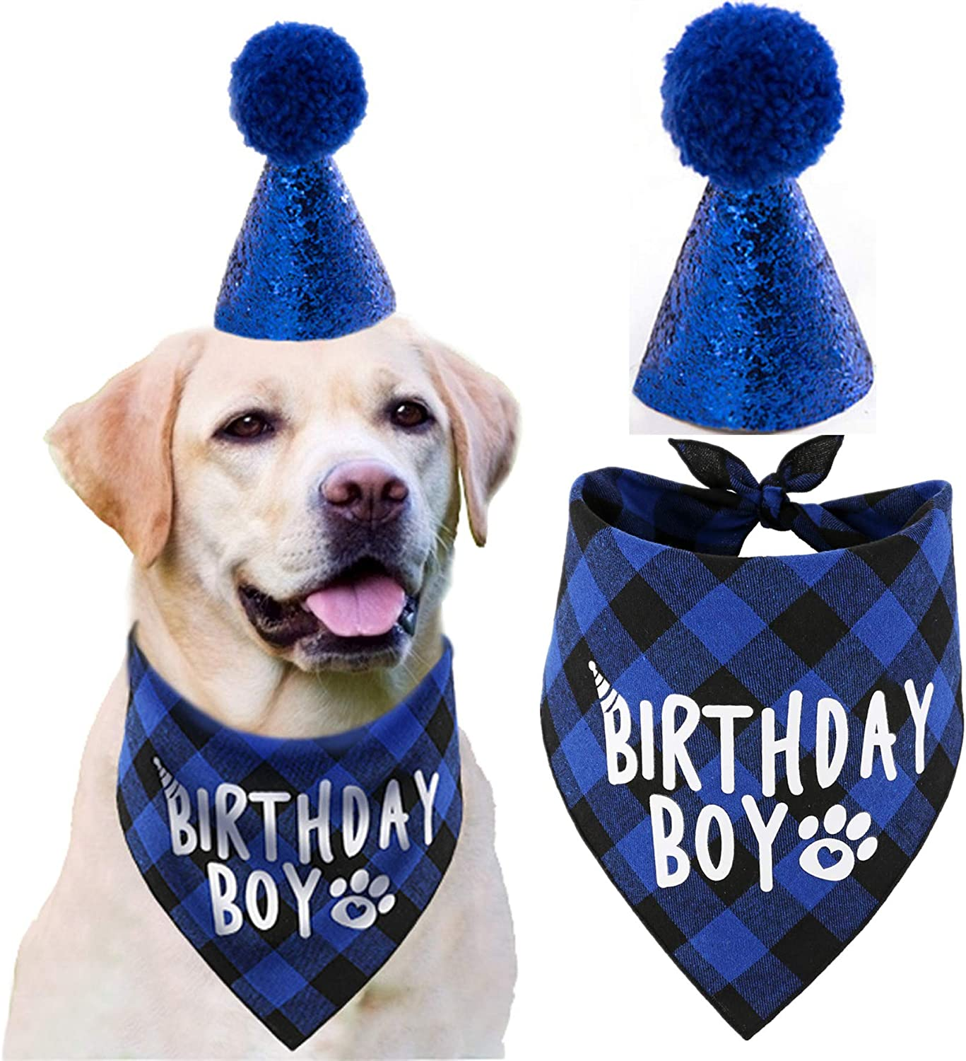 JPB Dog Birthday Party Supplies, Pet Birthday Hat and Boy Doggy Birthday Bandana Set : Pet Supplies