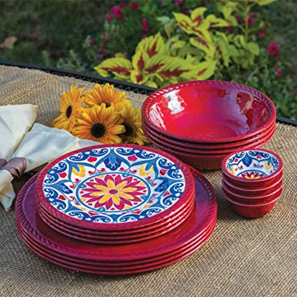 16 Piece Indoor/Outdoor Melamine Dinnerware Set RED & Amazon.com | 16 Piece Indoor/Outdoor Melamine Dinnerware Set RED ...