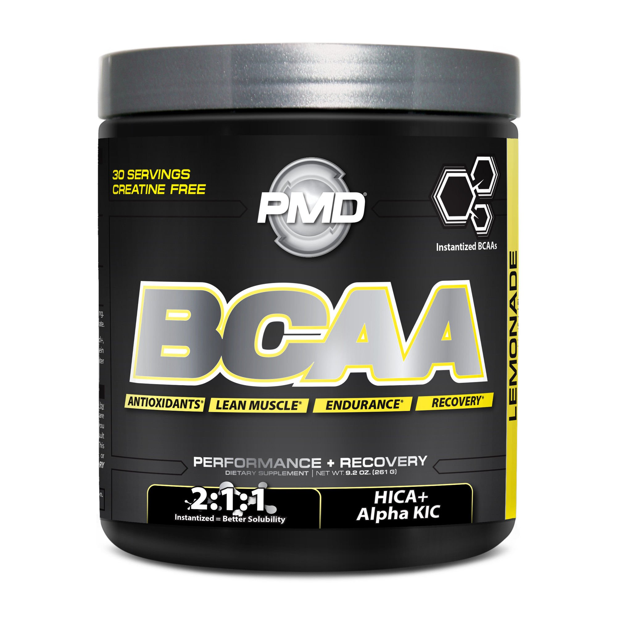 PMD Sports BCAA Delicious Amino Acid Drink for Performance and Recovery - Increase Muscle Function for Workout and Daily Energy - Lemonade - 30 Servings