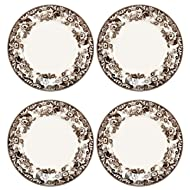 Spode Delamere Dinner Plate, Brown And White Scroll's And Flower's, Set of 4