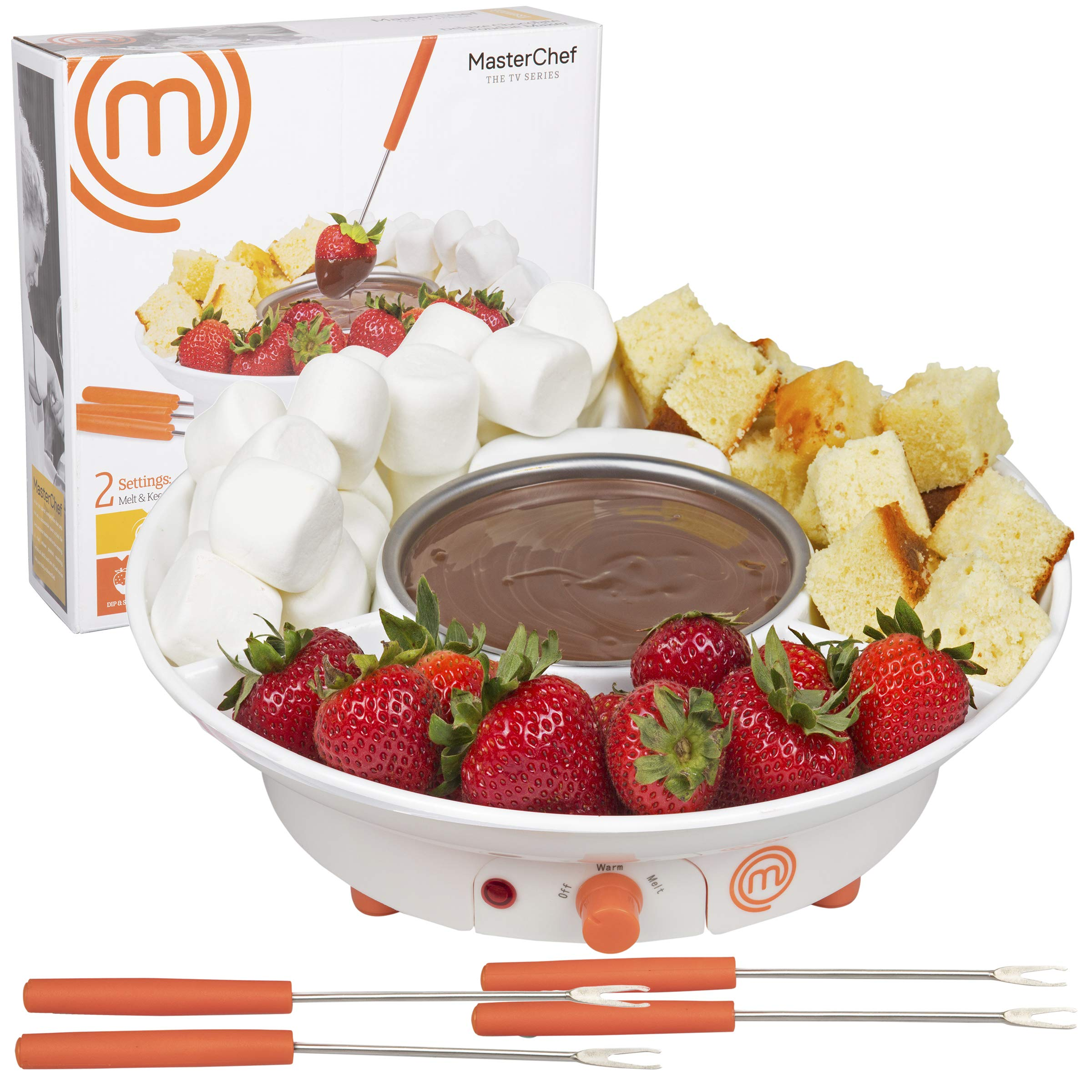 MasterChef Chocolate Fondue Maker- Deluxe Electric Dessert Fountain Fondue Pot Set with 4 Forks and Party Serving Tray (1) by MasterChef