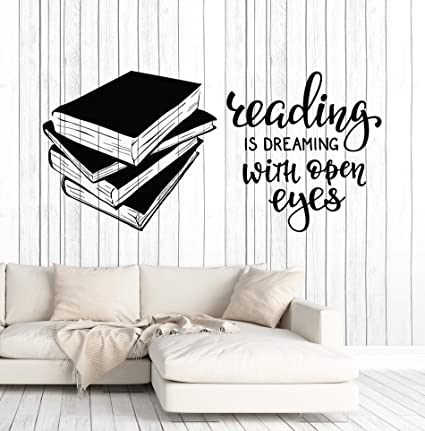 Vinyl Wall Decal Books Quote Reading Room Library Book Shop Stickers Large Decor Ig4847 Black