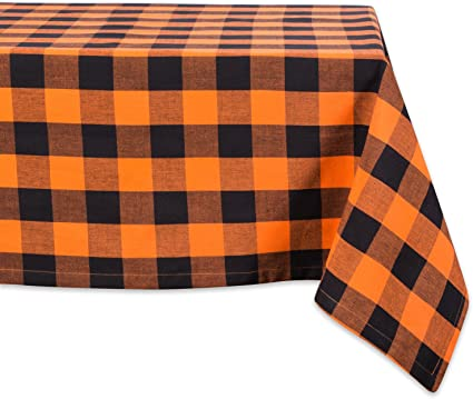 "DII Cotton Buffalo Check Plaid Rectangle Tablecloth for Family Dinners or Gatherings, Indoor or Outdoor Parties, & Everyday Use (60x104"",  Seats 8-10 People), Orange & Black"