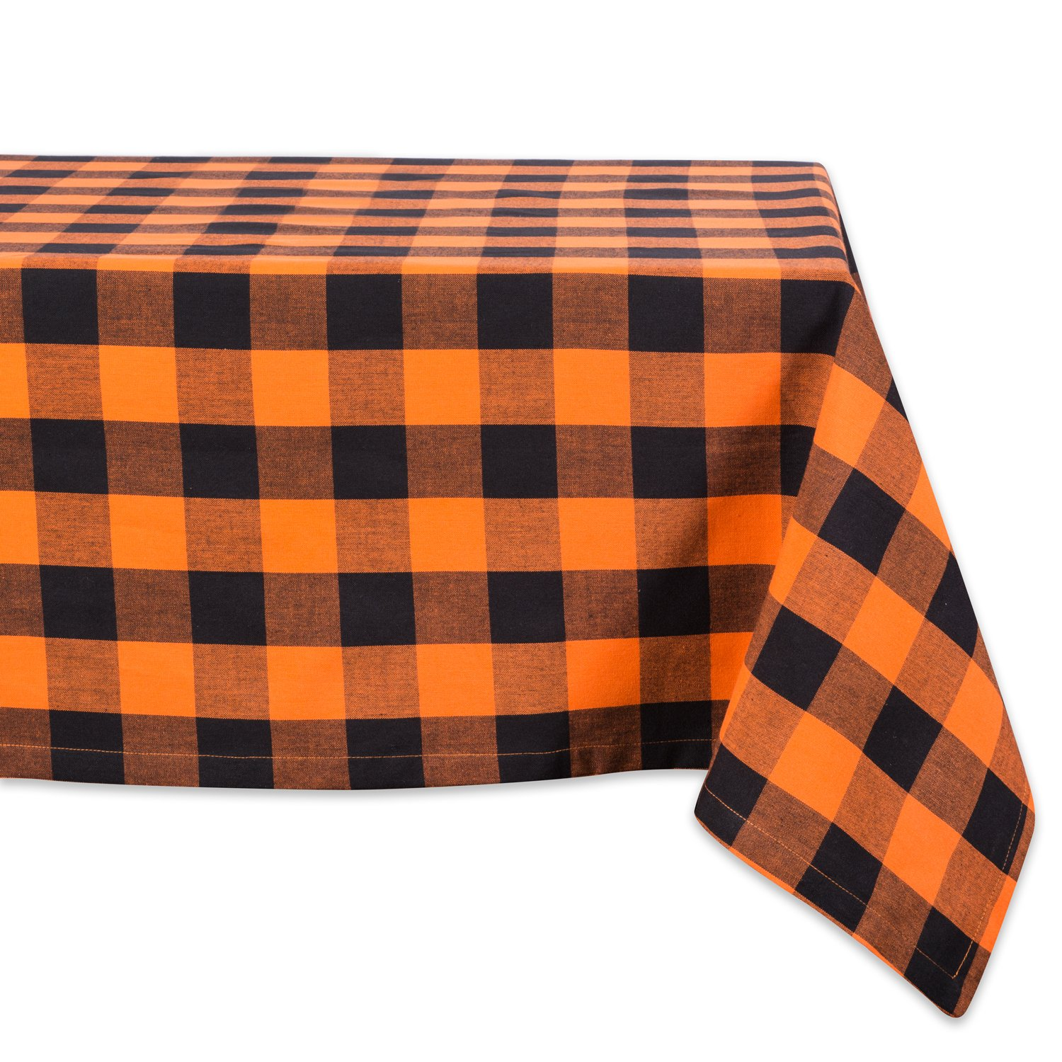 """DII Cotton Buffalo Check Plaid Rectangle Tablecloth for Family Dinners or Gatherings, Indoor or Outdoor Parties, & Everyday Use (60x120"""",Seats 10-12 People), Orange & Black"""