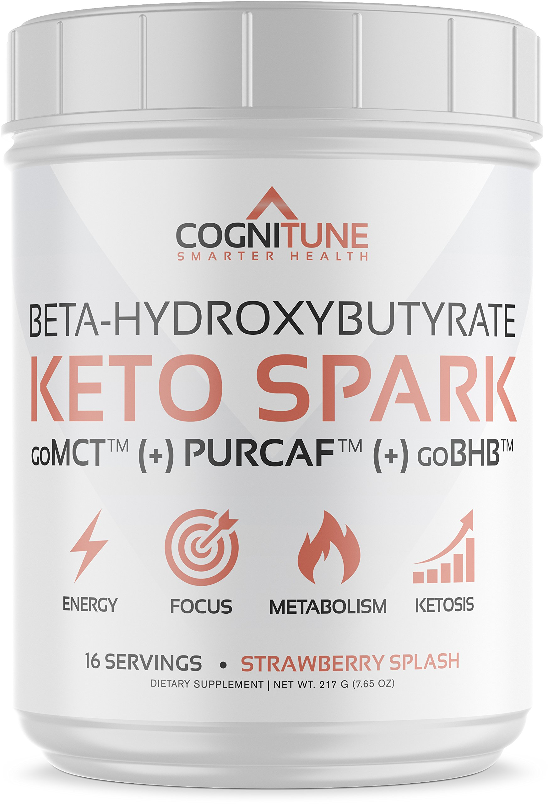 Keto Spark Energy Supplement - Exogenous Ketone Drink Mix with BHB Salts (goBHB), MCT Oil Powder (goMCT), Organic Caffeine (PurCaf), Collagen - Ketogenic Diet, Weight Loss & Fat Burning - 7.65 oz by CogniTune