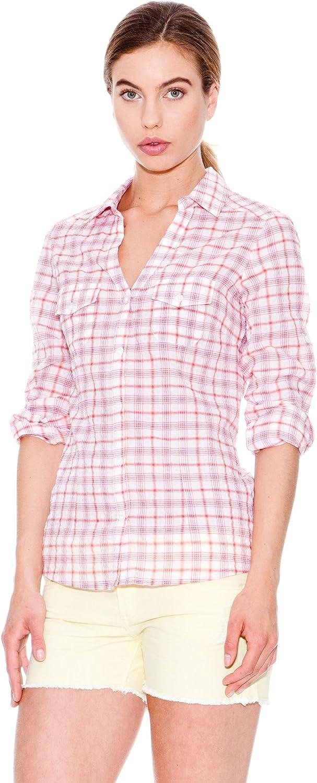 MANGO Camisa Tara Blanco/Rosa 34: Amazon.es: Ropa y accesorios