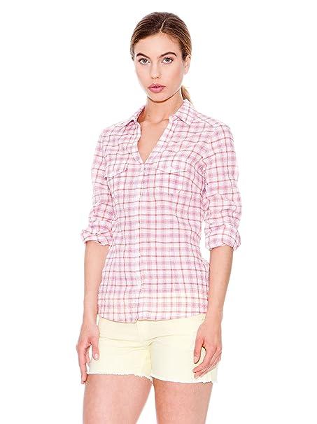 MANGO Camisa Tara Blanco/Rosa 34
