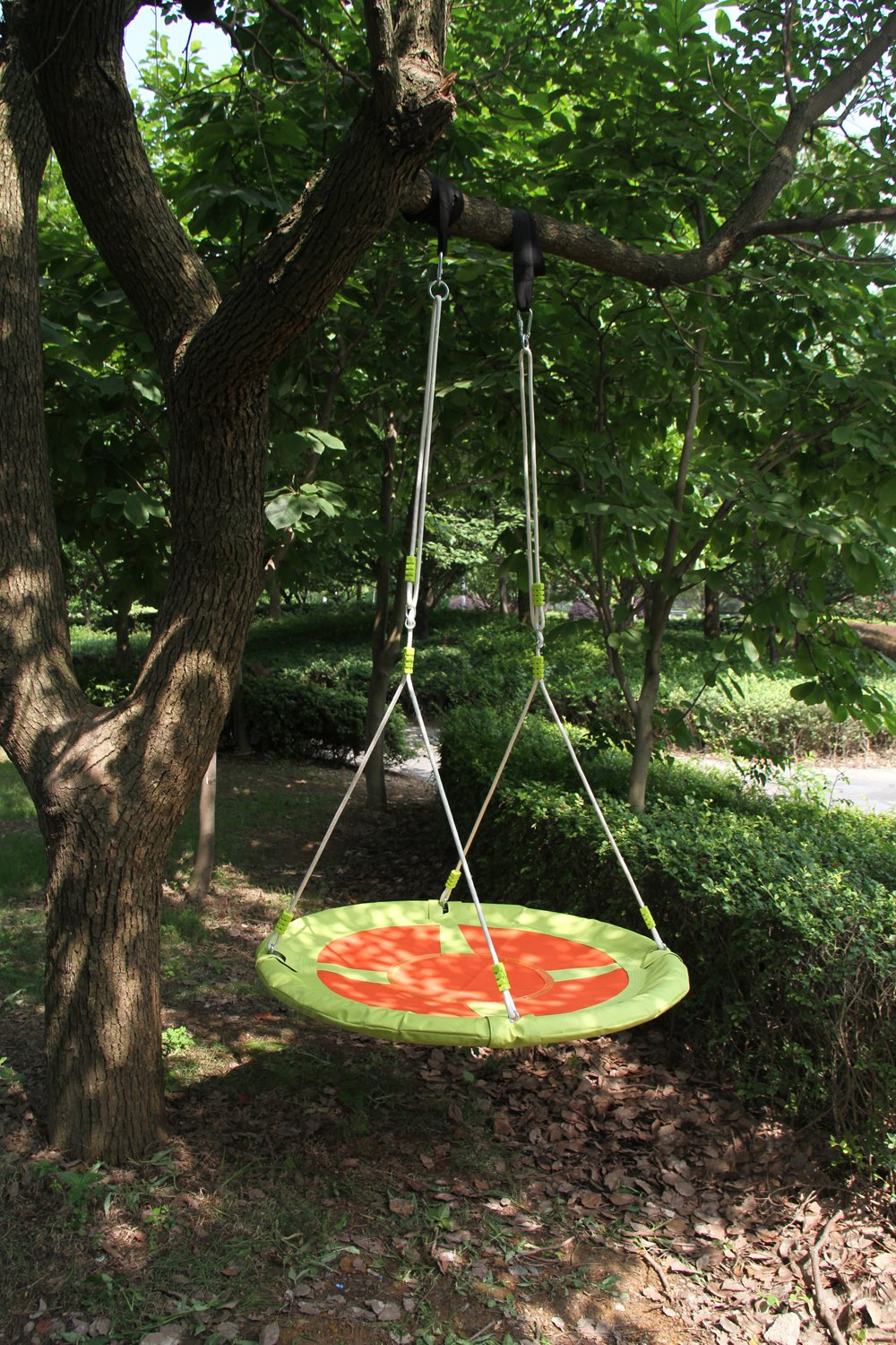 HAPPY PIE PLAY ADVENTURE Oxford 40 Saucer Spinner Tree Hanging Swing – Outdoor Playground Set Yellow
