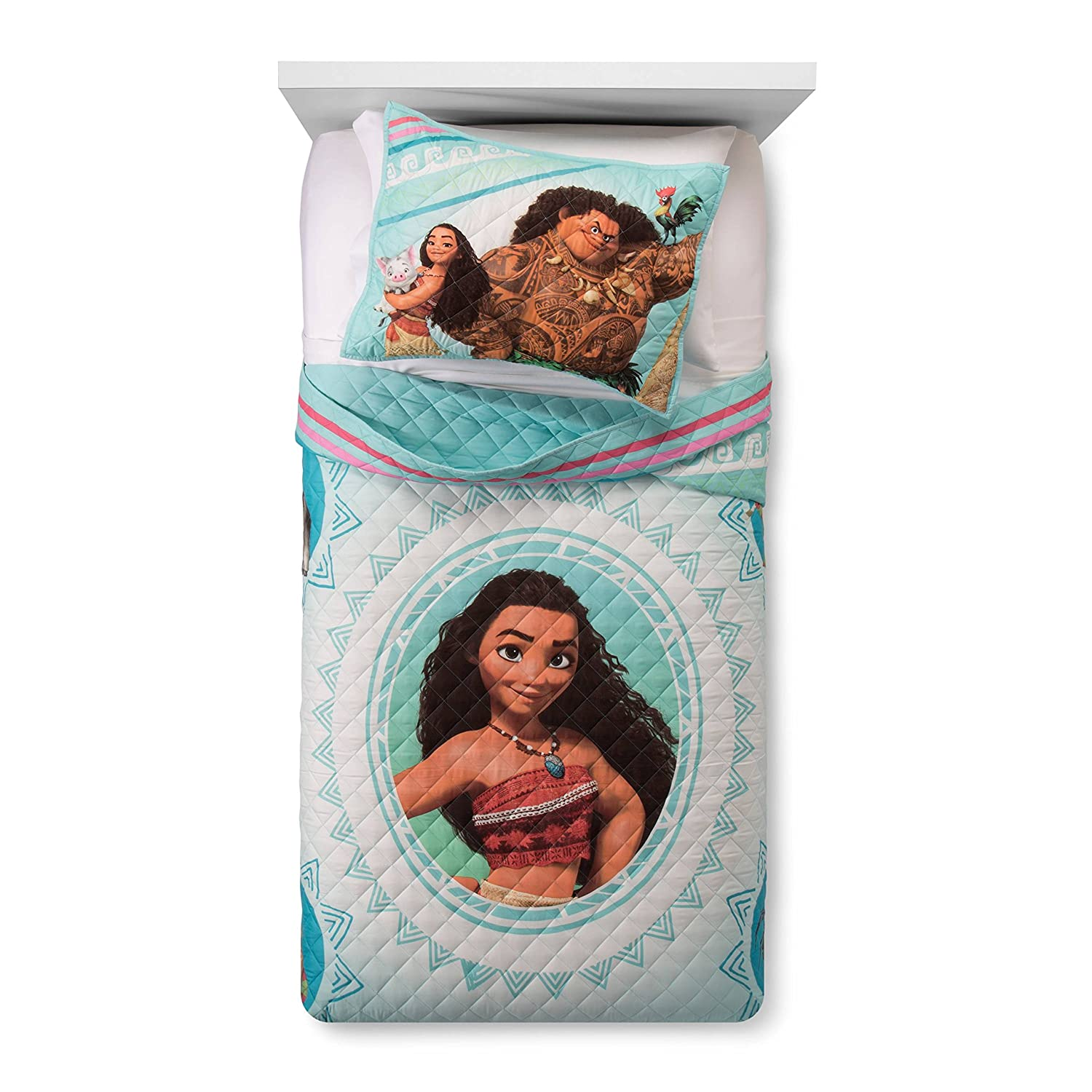 Disney Moana Twin/ Full Quilt & Sham Franco