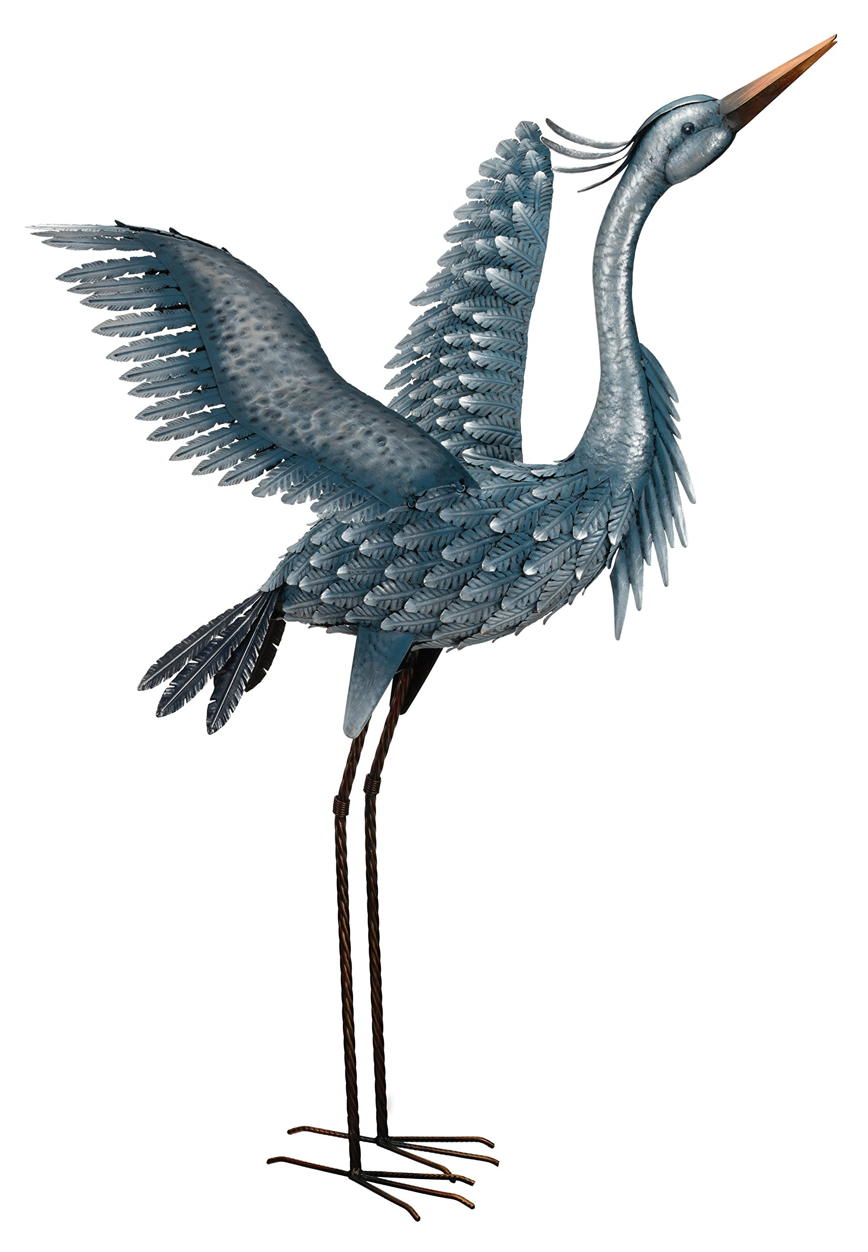 Regal Art & Gift 11778 Metallic Heron-Wings Up Bird Statuary, 47'', Blue