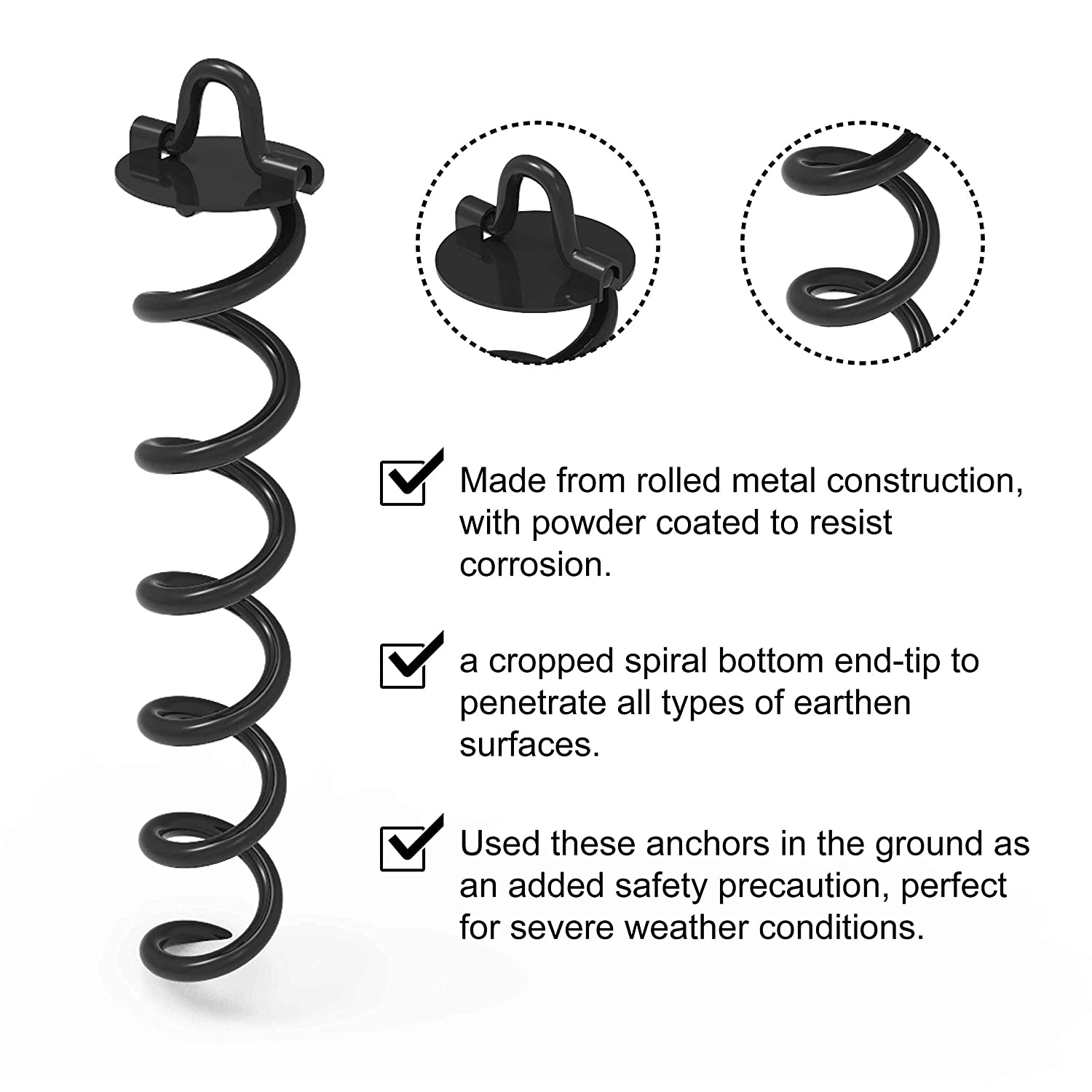 4Pcs Bonus tie-Downs for Tethering The Dog Trampoline Anchor Stakes for Anchor Swings Set Down Tent Portable Basketball Goal ABCCANOPY Spiral Ground Anchor with Dog Tie Out