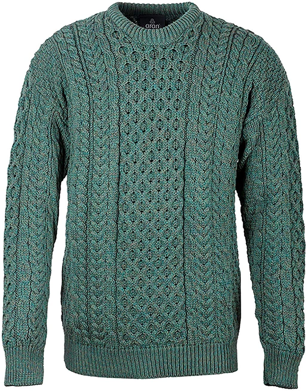Carraig Donn Mens Irish Traditional Aran Wool Pullover Sweater X-Large, Connemara Green