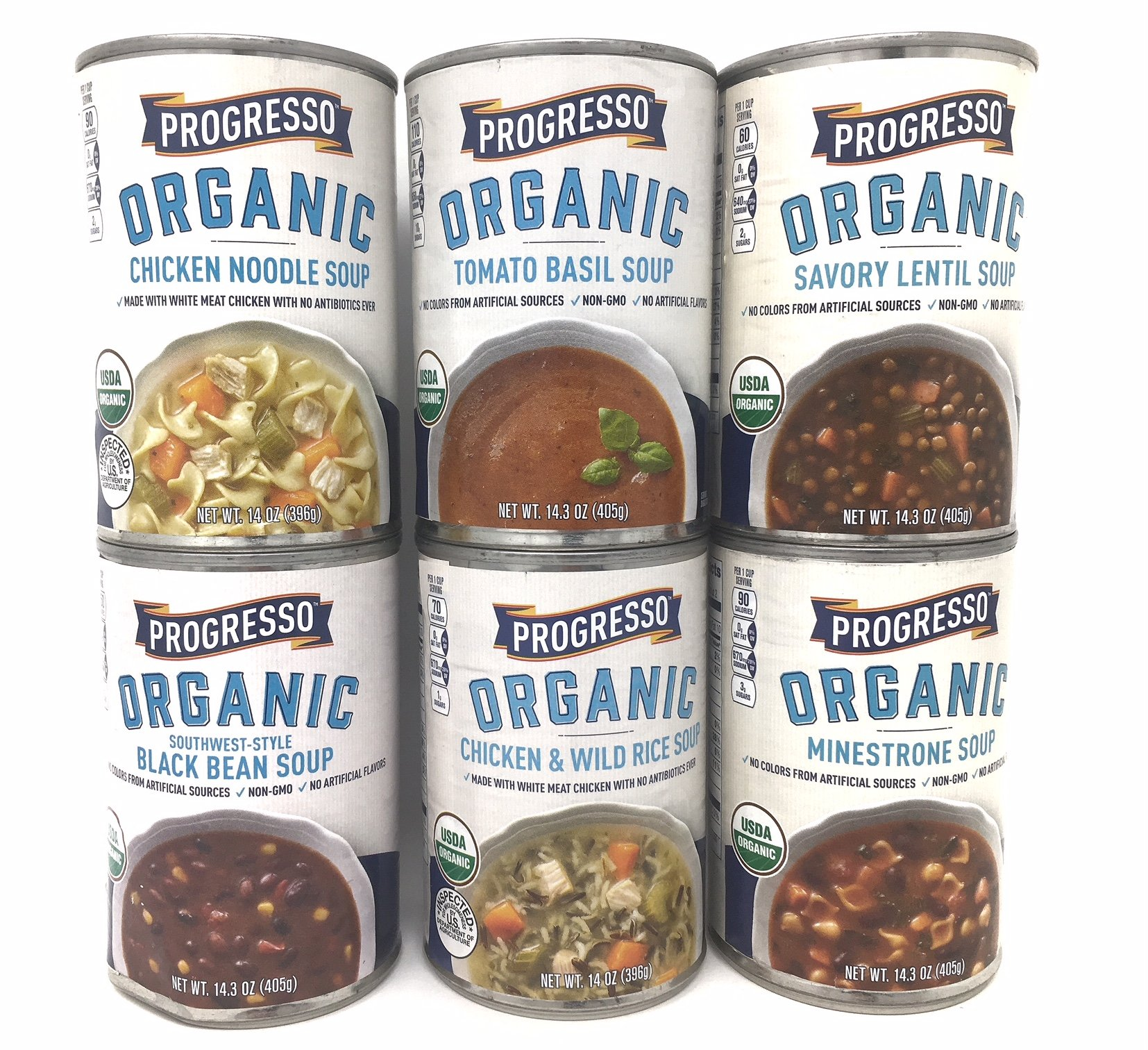 Progresso Organic Soup Variety Pack; Black Bean, Tomato Basil, Chicken Noodle, Chicken & Wild Rice, Minestrone and Savory Lentil Soup, 14-14.3 Oz (Bundle: 6 Items)