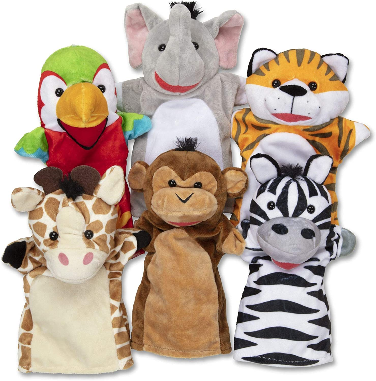Melissa & Doug Safari Buddies Hand Puppets Puppet Set, 6 Hand Puppets