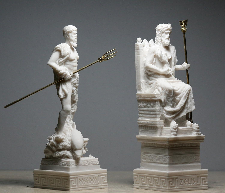 Set King Zeus /& Poseidon Greek Roman God Statue Sculpture Figure Alabaster