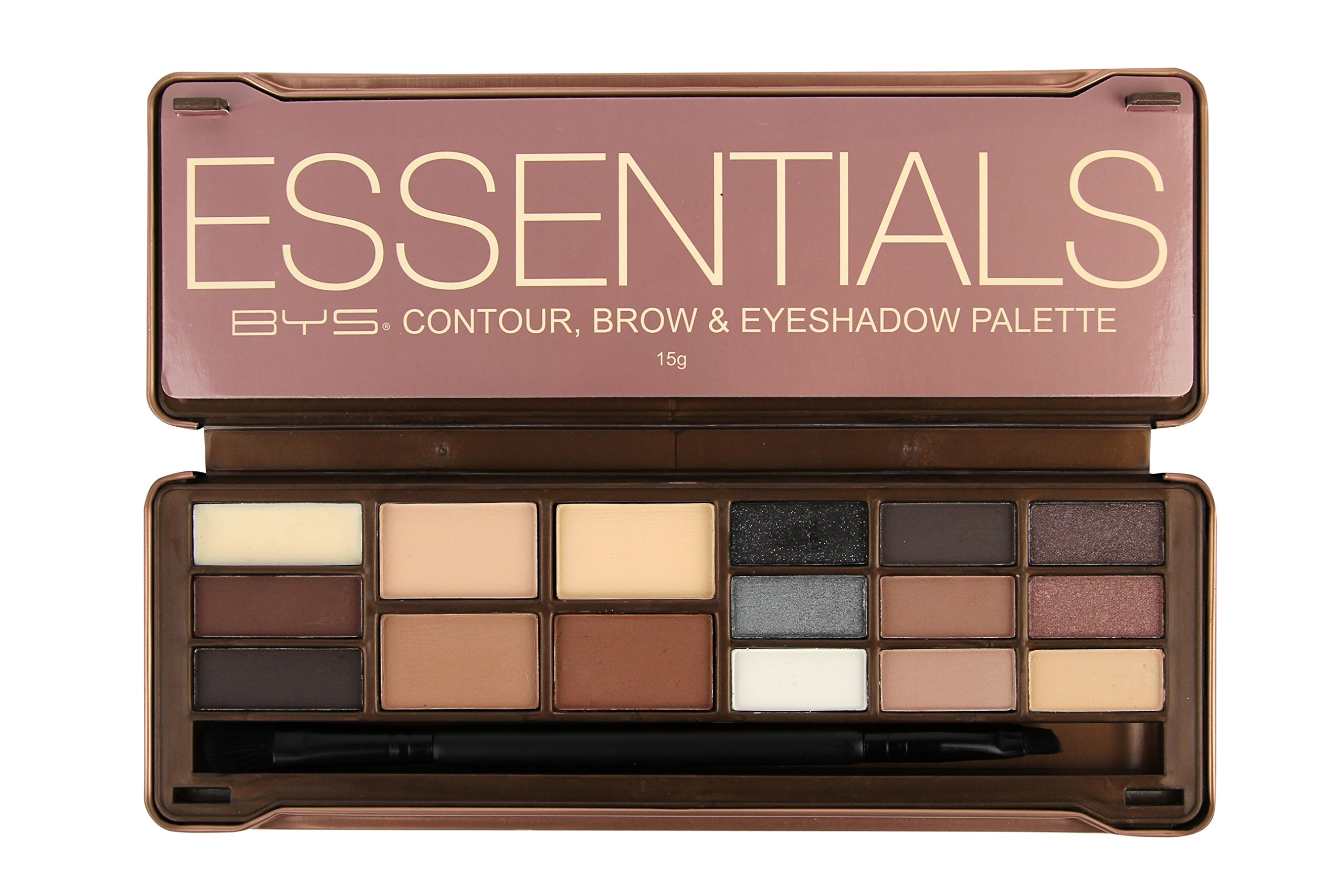 BYS Essentials Contour, Brow & Eyeshadow Palette Tin Collection with Mirror and Dual End Applicator