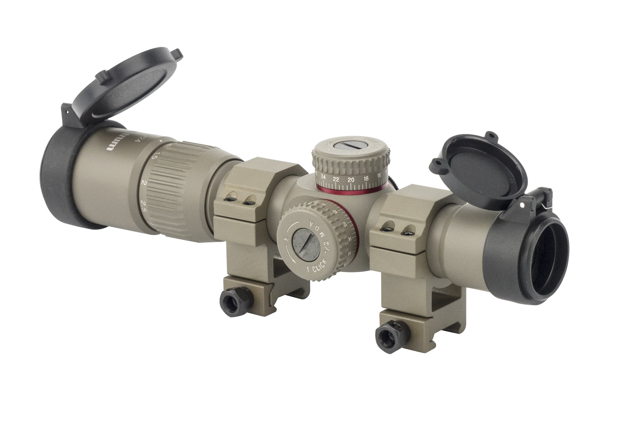 Monstrum G2 1-4x24 First Focal Plane FFP Rifle Scope with Illuminated BDC Reticle | Flat Dark Earth/Flat Dark Earth Rings by Monstrum