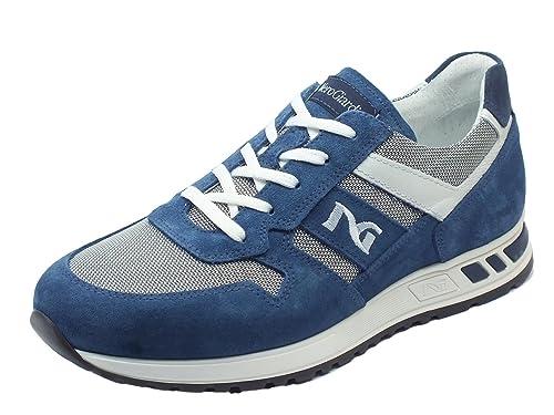 Nero Giardini Uomo Sneakers Blu (Acqua) P800232U Scarpe in camoscio Primavera Estate 2018, EU 40