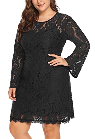 Womens Plus Size Elegant Flare Long Sleeve Lace Bodycon Cocktail