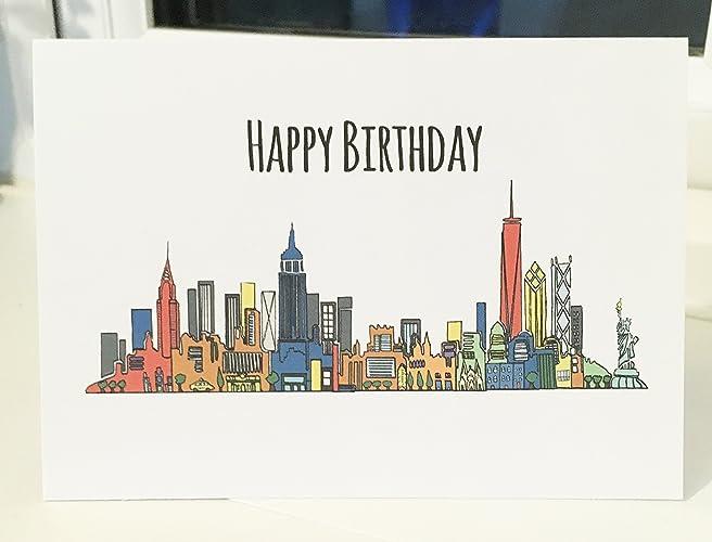Happy Birthday New York blank greeting card A6 Holiday Gift Card – New York Birthday Card