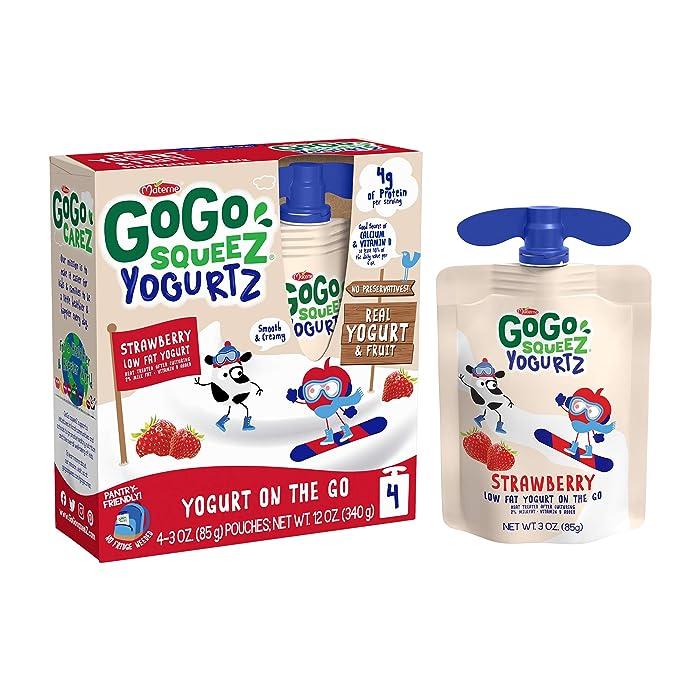 GoGo squeeZ yogurtZ, Strawberry, 3.2 Ounce (4 Pouches), Low Fat Yogurt, Gluten Free, Pantry-friendly, Recloseable, BPA Free Pouches