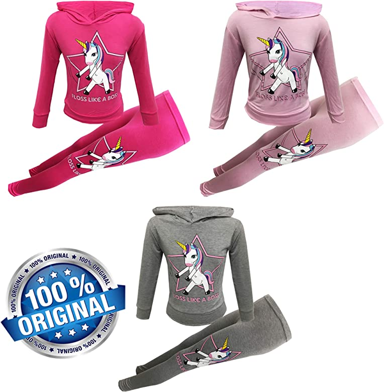 Girls Unicorn Off Duty Long Sleeve Hooded top /& Legging Set Kids Tracksuit Jogging Suit 2 PC Set Age 7-To-13 Years