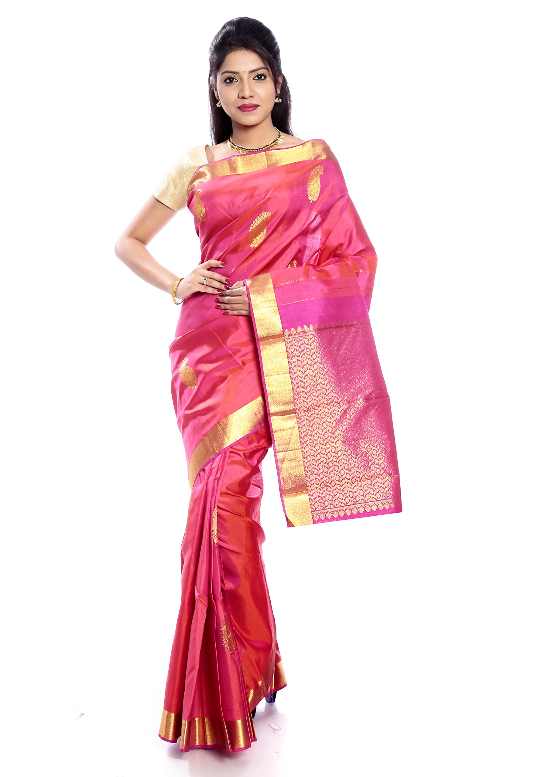 Mandakini — Indian Women's Kanchipuram - Handloom - Pure Silk Saree (Pink ) (MK227)