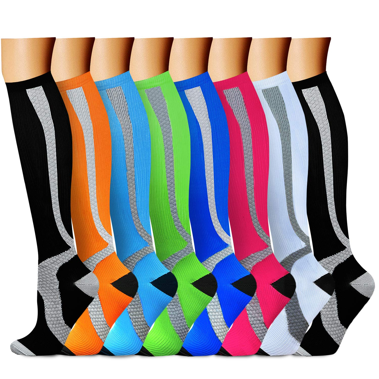 CHARMKING Compression Socks 15-20 mmHg is BEST Graduated Athletic & Medical for Men & Women Running, Travel, Nurses, Pregnant - Boost Performance, Blood Circulation & Recovery(Small/Medium,Assorted 8)
