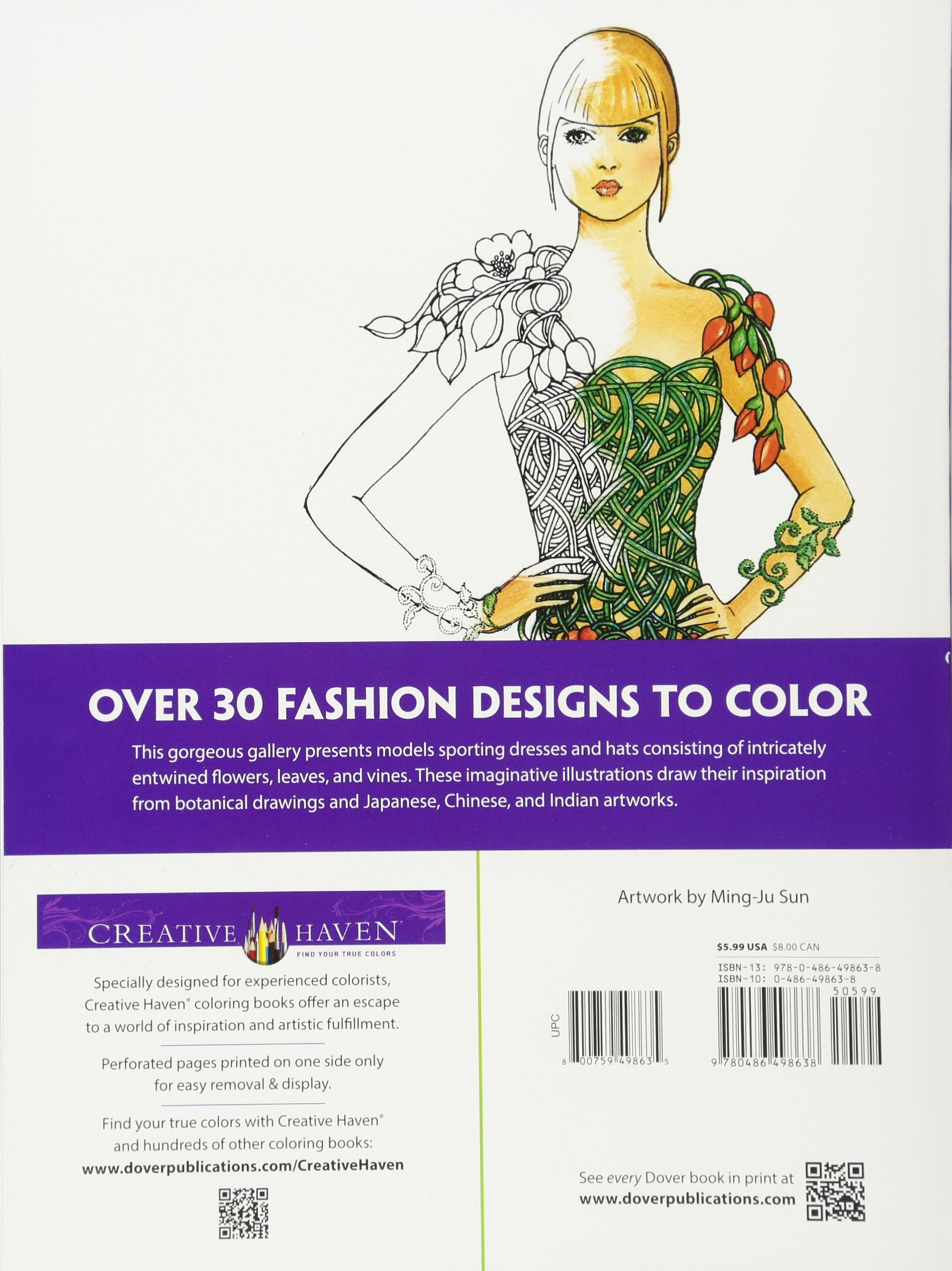 amazon com dover publications flower fashion fantasies