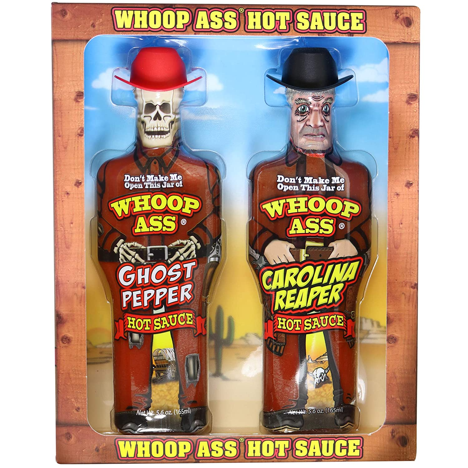 WHOOP ASS Premium Ghost Pepper Hot Sauce and Carolina Reaper Hot Sauce Gift Set - Packaged in Collectible Figurine Bottles – Perfect for Chicken Wings or a Gift for the Hot Sauce Fanatic