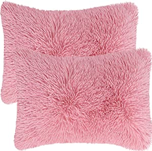 "PiccoCasa Pack of 2 Soft Fuzzy Faux Fur Throw Pillow Covers, Decorative Long Shaggy Cushion Covers Soft Sofa Pillowcases for Livingroom Couch Bedroom Car Seat 12"" x 20"", Millennial Pink"