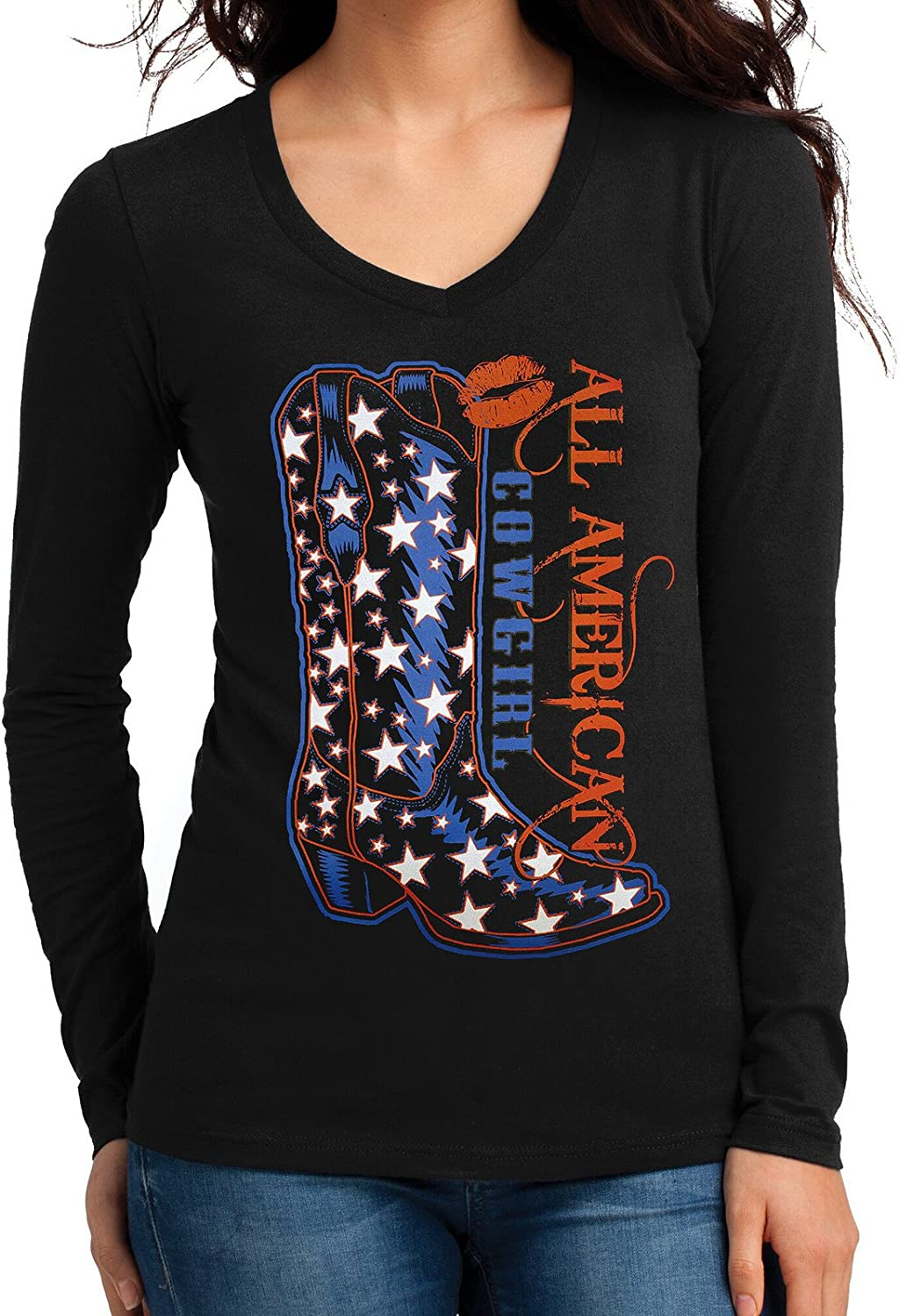 New All American Cowgirl Boot Junior/'s V Neck Long Sleeve T Shirt Rodeo Western