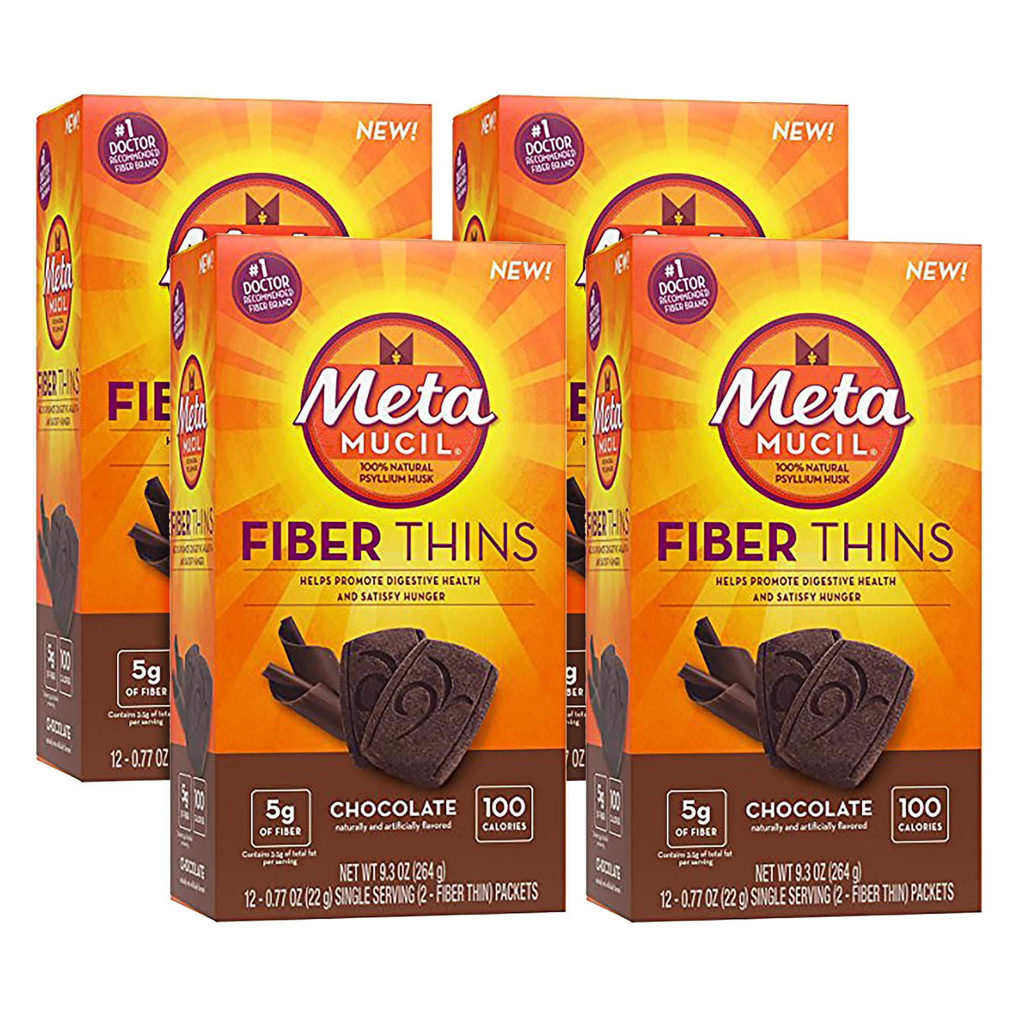 Metamucil Chocolate Flavored Fiber Thins Dietary Fiber Supplement with Psyllium Husk, 12 servings (pack of 4) by Metamucil (Image #1)