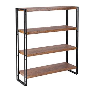 FIVEGIVEN 4 Tier Bookshelf Rustic Industrial Bookcase With Modern Open Wood Shelves Brown
