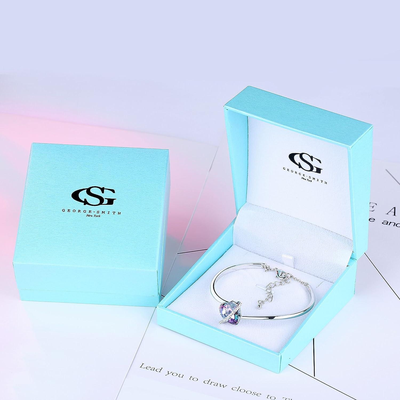 bf5c2a61250 GEORGE SMITH Cadeau de Maman❤️Histoire d amourrose Réglable Bleu Rose Coeur  Bracelet avec Cristaux ...