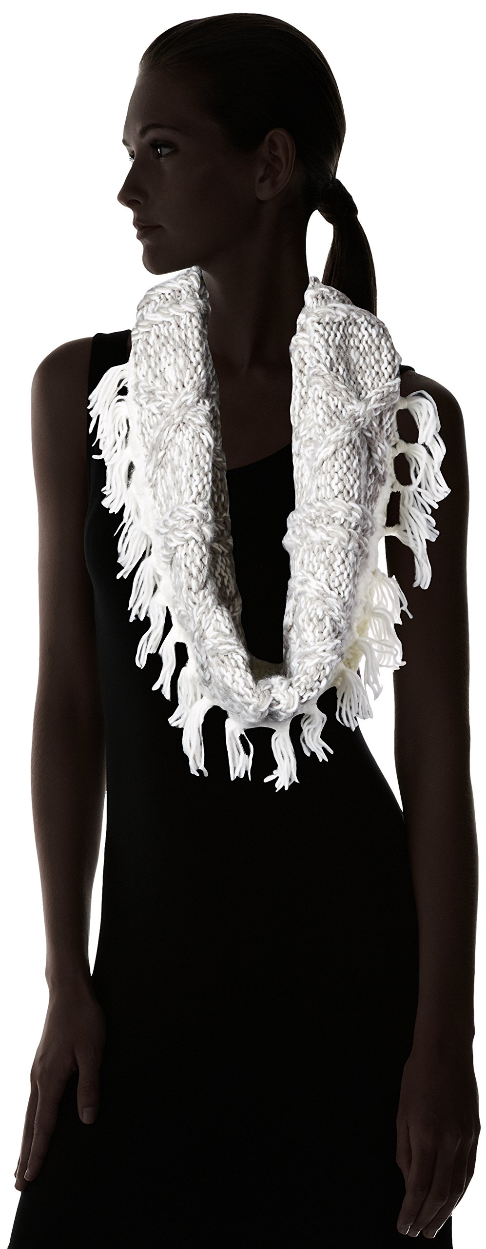 Screamer Women's Fringy Infinity Robin Scarf , One Size, White/Charcoal