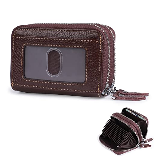 ca9bbd2d618 Mini Credit Card Case RFID Blocking Genuine Leather Small Wallet for Women  Men (Brown)