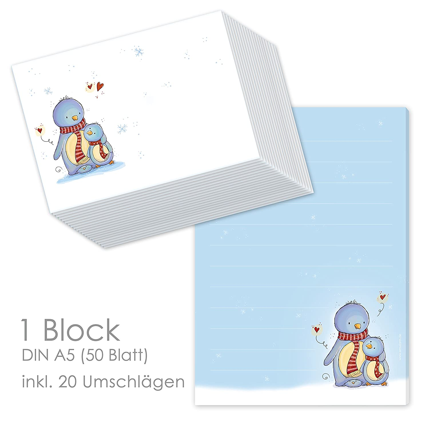 'Penguins Mail Letter Notebook A5 Lined Paper (50 Sheets) Children, Writing Paper + 20 Matching Envelopes for Letter Paper set emufarm
