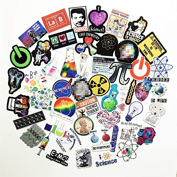 50Pcs Funny Science Laboratory Stickers Science Experiments Lab Sticker for Student Kids Laptop Skateboard Toy Stickers Science Lab