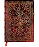 PaperBlanks Carmine Hard Cover Single Ruled Diary Notebook - 13 cm x 18 cm, 240 Pages (Red and Gold) (Equinoxe)