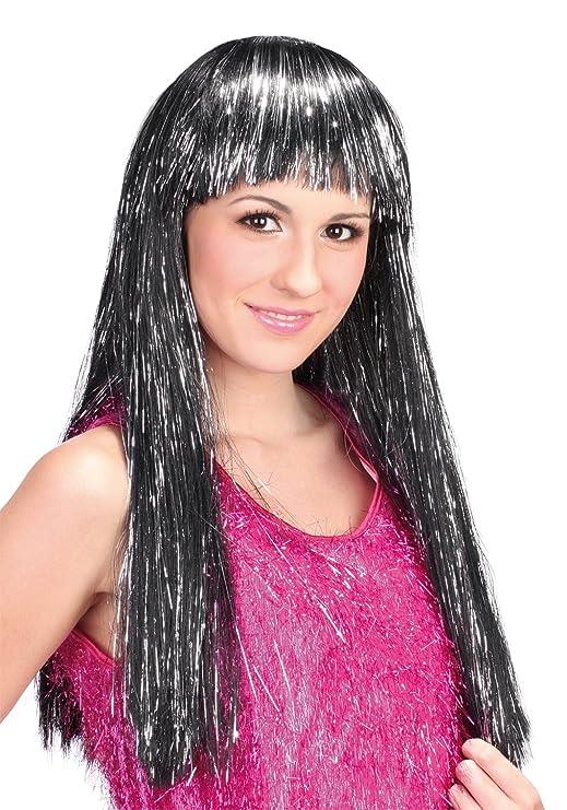 Peluca negra larga con flequillo y tiras plateadas para mujer: Amazon.es: Juguetes y juegos