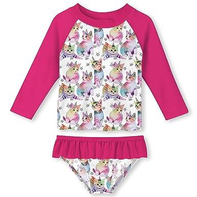 Funnycokid Traje de baño para niñas 2 Piezas Traje de baño de Manga Larga Traje de baño Summer Beach Tankini Traje de baño con UPF 50+ Edad 2-8 años