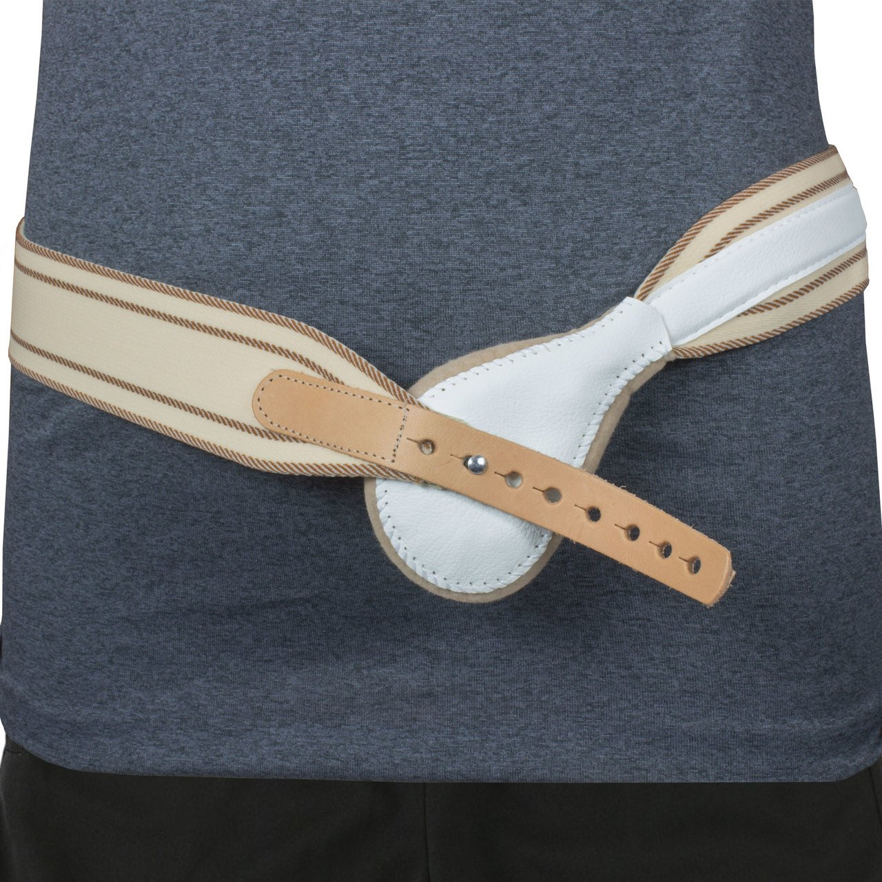 Spring Elastic Hernia Truss Compression Controlled Pressure with Round Hernia Pad (Left 36'')