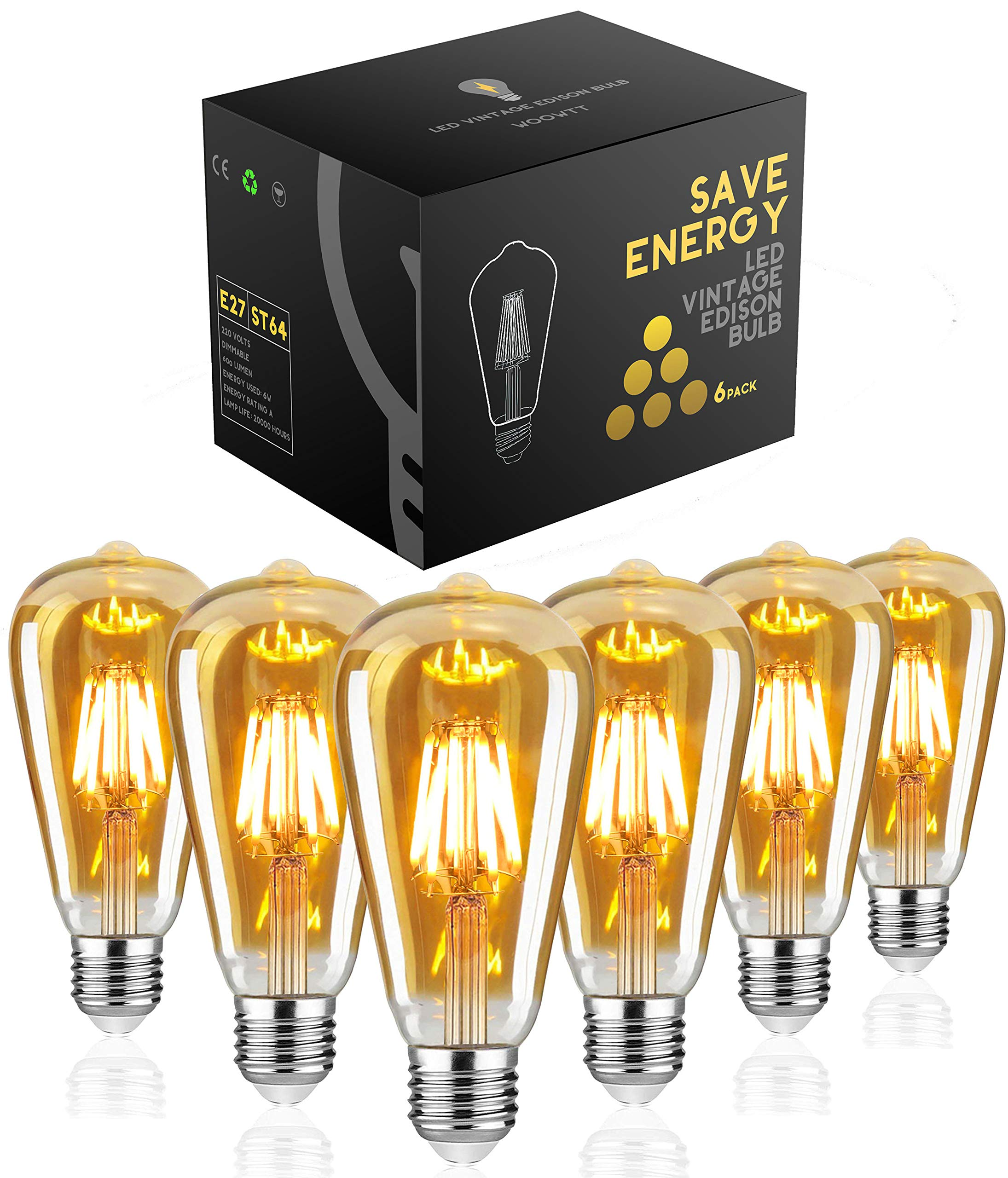 Yellow Amber Warm 6 Pack Vintage Edison Light Bulbs 40w Long Life Marconi Squirrel Cage Filament Bulb