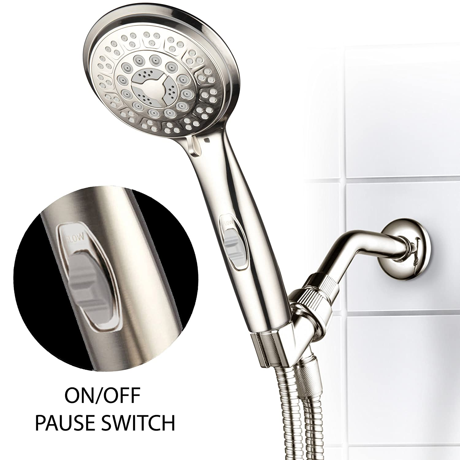 HotelSpa 9-Setting Luxury Brushed Nickel Hand Shower with Patented ...