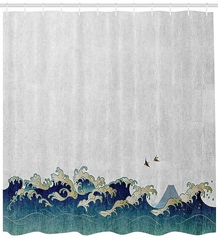 Ambesonne Japanese Wave Shower Curtain Aquatic Swirls Birds Of Ocean Ukiyo E Style Artwork