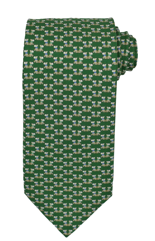 Salvatore Ferragamo Men's Green Puppy Print Silk Neck Tie
