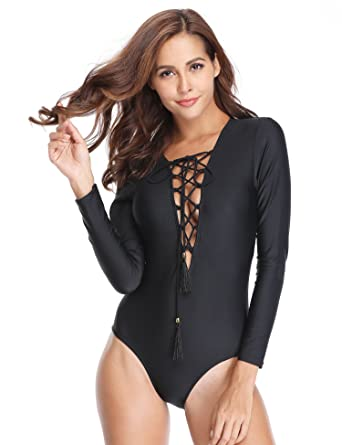 36227cef10 MarinaVida Women One Piece Long Sleeve Swimsuit Deep V Neck Bathing ...
