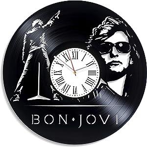 Kovides Wall Clock Modern Bon Jovi Music Art Vintage Vinyl Record Clock Home Decor Bon Jovi Clock Decor for Living Room Rock Band Wall Clock Minimalist Bon Jovi Gift Birthday Gift for Brother